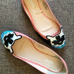 Pink/blue cat flats, size 6, like new, Cooperative